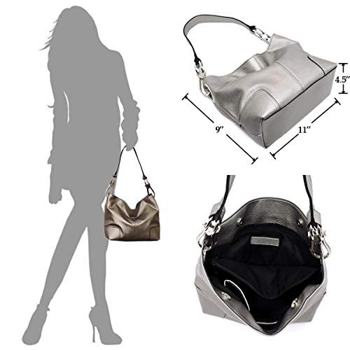 Bag Fashion Shoulder Classic pewter O Purse Hobo Elphis Bucket Handbag qUStpxnTqg