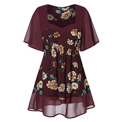 Women's Comfy Casual Short Sleeve Side Twist Knotted Tops Blouse Tunic T Shirts(Red,US 16)