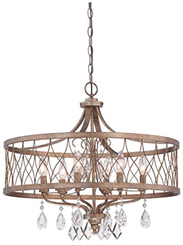 Minka Lavery Chandelier Pendant Lighting 4406-581, West Liberty 1 Tier Dining Room, 6 Light, Olympus Gold (Olympus 1 Light Pendant)