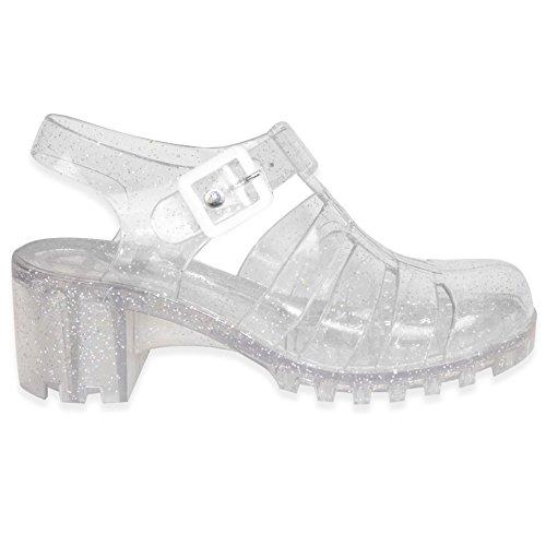 Clear Sandals Heel Retro Size Block Ajvani Women Mid 90s Glitter tI6qx8HtwY