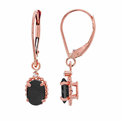 Finish Onyx Frame (10K Rose Gold 1.25mm Round White Topaz & 6x4mm Oval Onyx Bead Frame Drop Leverback Earring)