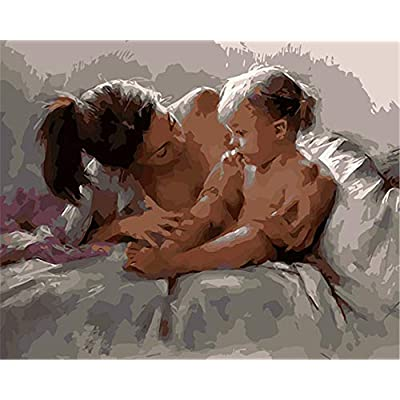 Paint by Numbers Kits DIY Oil Painting Home Decor Wall Value Gift-Mother and Child 16X20 Inch (No Frame): Toys & Games