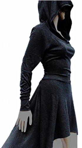 Hem Dark Women's Dress Sleeve Grey Jaycargogo Stylish Asymmetric Long Hooded Sweatshirts Tops vOndqEx7