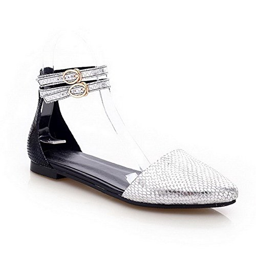 AmoonyFashion Womens Pointed Closed Toe Buckle Cow Leather Solid No Heel Pumps Shoes Silver q2YgmAcP