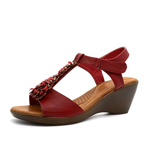 New Womens Low Wedge Heel Summer Sandals Ladies Ankle Strap Flower Shoes UK Size 3-8 Red 8LTFu9p1