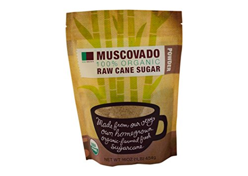 Muscovado Organic Raw Cane Sugar, 1 lb, Brown (Usa Sugar Cane)