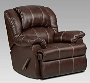 Brown recliner with handle adjustment on the side