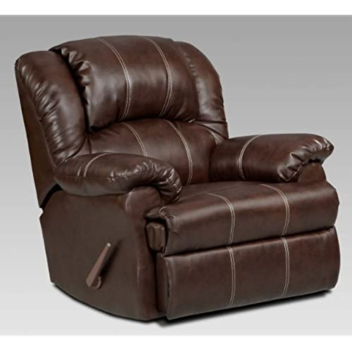 Beau Roundhill Furniture Brandan Bonded Leather Dual Rocker Recliner Chair,  Oversize, Brown
