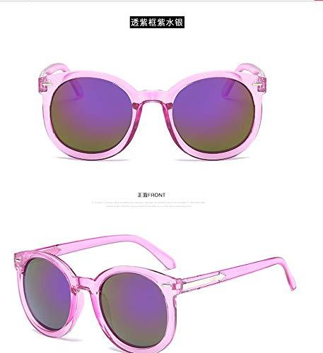 Korea Personalized Color Film Round face Long face Thin Sunglasses Sunglasses Women Girls Influx Men Man Avant-Garde 2018 uv Eye Glasses (Purple Purple Penetration Block fine Lens Cloth