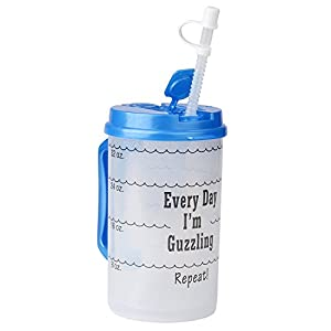 Water Tracking Mug for Daily Intake Measuring, 32 oz Blue with Lid and Handle