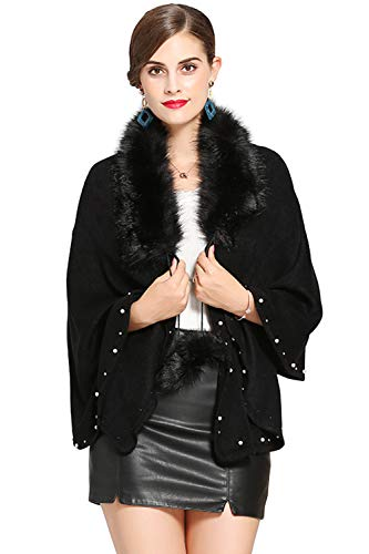 MisShow Bridal Faux Fur Shawl Wraps Cloak Jacket Coat Tippet Poncho Black