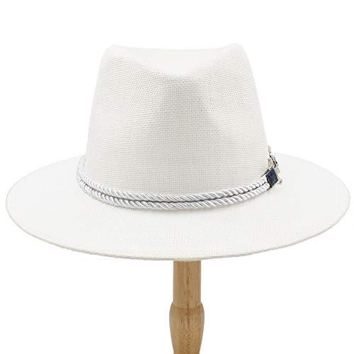 HHF Caps & Hats Sun Cap for Women Teenager Summer Panama Hat, Men Fedoras Hat Fashion Jazz Cap New Adult Bucket Hat (Color : White, Size : 56-58cm)