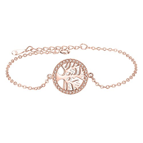 Bender Costume Amazon (Round 925 Sterling Silver Bracelet Disc Eternal 925 sterling silver bracelet, Gold Rose Color (Eternal Tree))