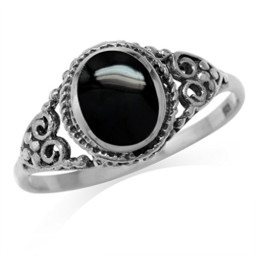 Created Black Onyx Inlay 925 Sterling Silver Filigree Victorian Style Ring Size 6