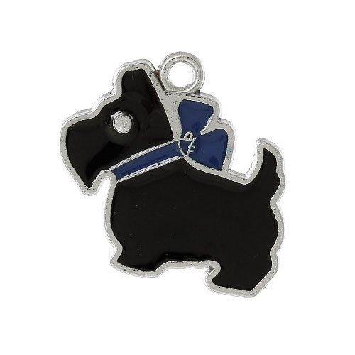 Paquet 6 x Noir/Bleu Émaillée 28mm Breloques Pendentif (Chien) - (ZX10715) - Charming Beads