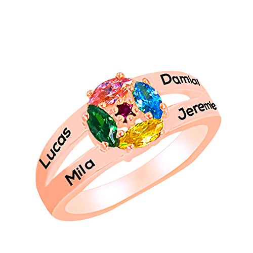 a266XDKSJK Sterling Silver Mothers Rings with Birthstones, Choose 4 Birthstones 4 Names Engraving Customized and Personalized (rose-gold 14) by a266XDKSJK (Image #1)