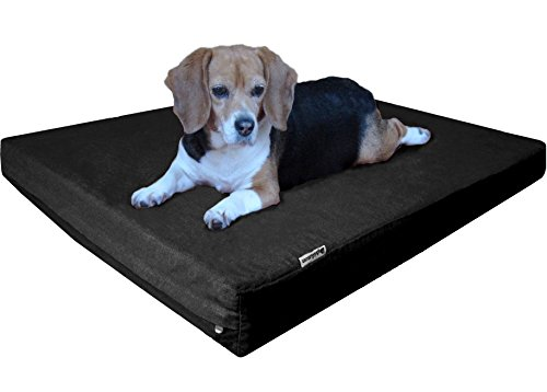 (Dogbed4less Large Orthopedic Memory Foam Dog Bed with Heavy Duty Black Canvas Cover, Waterproof Liner and Extra Replacement Pet Bed Case, Fit 42X28 Crate)