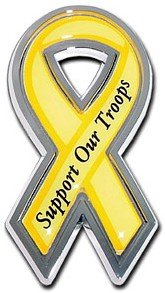 - Americas & Americas Support Our Troops Chrome Automobile Emblem