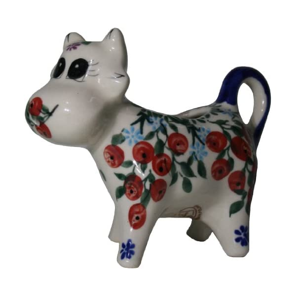 Polish Pottery Ceramika Boleslawiec 0501/282 Royal Blue Patterns 1/3-Cup Cow Creamer, Red Berries and Daisies