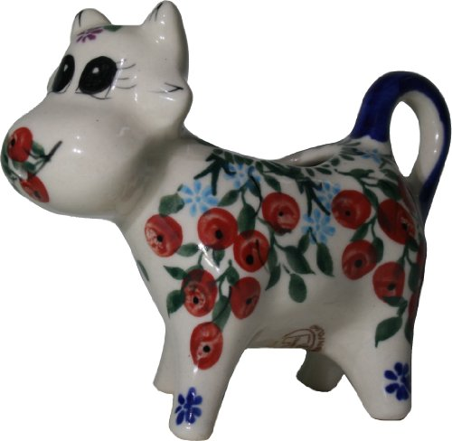 (Polish Pottery Ceramika Boleslawiec 0501/282 Royal Blue Patterns 1/3-Cup Cow Creamer, Red Berries and Daisies)