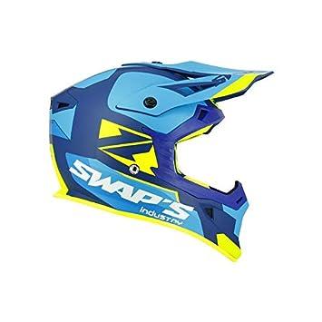ffd6ae56c61c68 SWAP S Casque Moto Cross Blur S818 Bleu Jaune Fluo Mat - Homologué ECE R22- 05