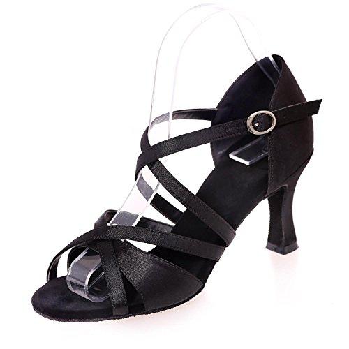 avec YC De L black Pour Unique Multicolore Danse Sandales Un Latine Complet Soie Femmes En Mode Boucle IntéRieure zIrxdwrT