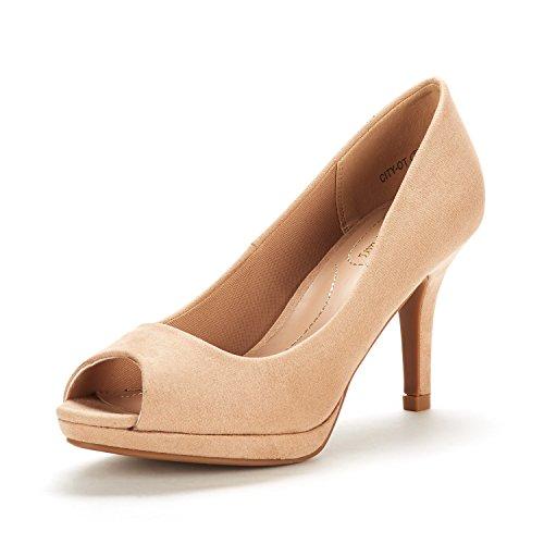 DREAM PAIRS Women's City_OT Nude Fashion Stilettos Peep Toe Pumps Heels Shoes Size 8.5 B(M) US