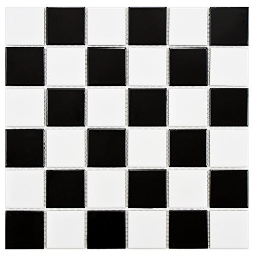 SomerTile FYFB2SCH Polar Square Checker Porcelain Floor and Wall Tile, 11.875