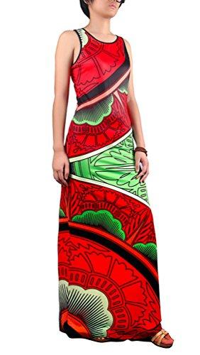 Niseng Mujeres Moda Larga Vestido Sin Mangas Impresión Maxi Vestido De Cóctel Verano Vestido De La Playa Estilo 8#
