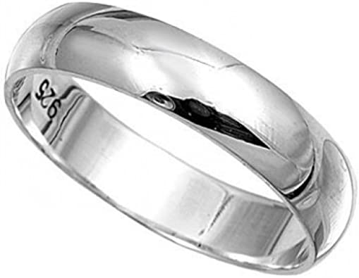 925 Sterling Silver Womens Mens 3mm D Shape Wedding Band Ring Silver Band J-Z