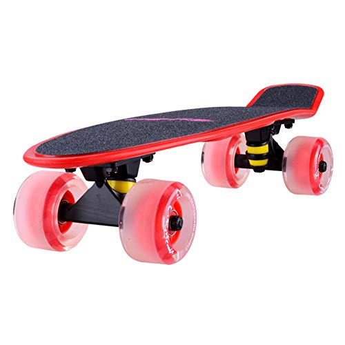 Vortex Skateboard Wheels - Scooters Children Skateboard with 4 Matte Flash Wheels Cruiser Beginners Mini Skateboards for Kids with Carry Bag, Color Optional (Color : Red)