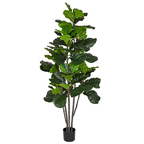 Woooow 6 Feet Artificial Fiddle Leaf Fig Tree in Planter,Artificial Tree Beautiful Fake Plant Fiddle Leaf Indoor/Outdoor UV Resistant Tree for Living Room Balcony Corner Decor