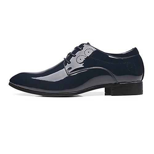 Jiuyue-shoes, 2018 Scarpe da uomo in pelle liscia liscia da uomo Scarpe Uomo Pelle (Color : Nero, Dimensione : 38 EU) Blu