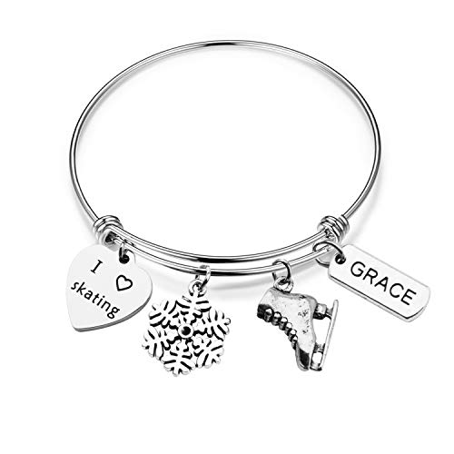 MAOFAED Figure Skating Bracelet Ice Skating Jewelry Gift for Girls Ice Skate Charm Bracelet Perfect Figure Skating Gifts (Skating Bracelet) (Used Figure Skating Competition Dresses For Sale)