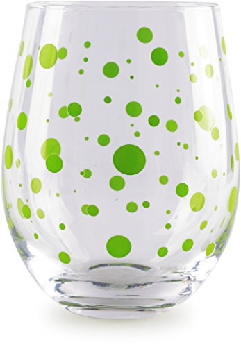 Circleware 77027 Polka Dots Stemless Wine Glasses, Set of 4 Drinking Glassware for Water, Juice, Beer, Liquor and Best Selling Kitchen and Home Decor Bar Dining Beverage Gifts, 18.9 oz, Colored by Circleware (Image #4)