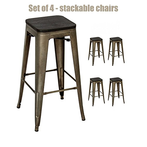Vintage Antique Style Metal Rustic Wood Bar Stools School Office Kitchen Dining Chairs Sturdy Heavy Duty Steel Frame Scratch Resistant Backless Stool Design - Set of 2 New Bronze - Styles Malta New