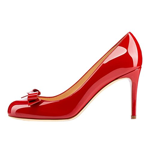Arc-en-Ciel Las bombas del arco de las mujeres zapatos de charol de tacón alto del dedo del pie redondo Rojo