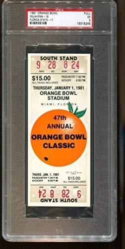 1981 Orange Bowl Full Ticket Oklahoma Sooners v Florida State Seminoles PSA *245
