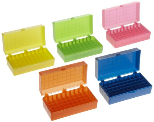 Heathrow Scientific HS120033 50 Well Microtube Storage Box, Cryogenic Box, Tube Storage, 1.5mL/2.0mL Tubes,Polypropylene, 5 Assorted Colors, (5/pk)