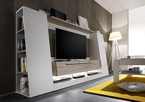 Trendteam Wohnwand Tv Mobel Weiss Eiche San Remo 240 X 148 X 45 Cm
