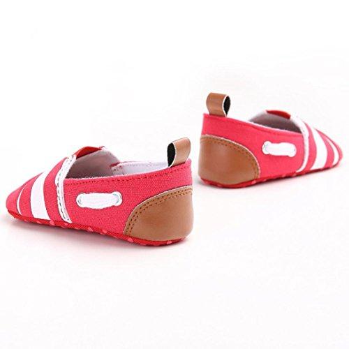 Tefamore zapatos primeros pasos bebes de raya de antideslizante de sole suave de moda invierno de calentar Rojo