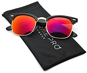 WearMe Pro - Half Frame Retro Semi-Rimless Style Sunglasses Retro Mirror Lens Sunglasses