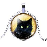 Jiayiqi Horrible Black Cat Time Gemstone Pendant Single Alloy Chain Necklace for Women