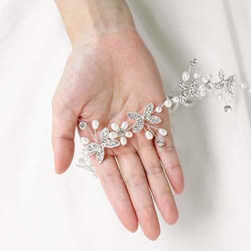 Catery Butterfly Bride Wedding Headband Silver Flower Pearl Hair Vine Bridal Hair Accessories for Women