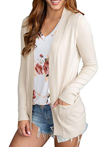 Dokotoo Womens Ladies Fashion Thin Autumn Fall Knit Soft Solid Open Front Long Sleeve Short Cardigan Sweater Outwear with Pockets Apricot Large by Dokotoo (Image #3)