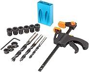 Romacci 15pcs Pocket Hole Jig Kit 8mm 10mm Guia de broca angular de 15 graus Ferramenta de marcenaria para per
