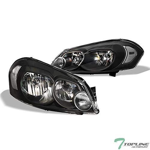Topline Autopart Black Clear Housing Headlights Signel nb For 06-13 Chevy Impala ; 14-16 Impala Limited ; 06-07 Monte Carlo