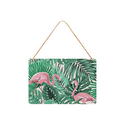 (Custom Plaque Jungle Tree Palm Leaves and Pink Flamingo Metal Tin Sign 12x8 Inch Wall Hanging for Man Cave Bar Pub)
