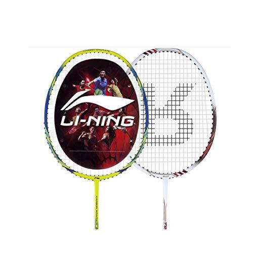 Tongboshi Full Carbon Badminton Racket, On The Beat, 2 Double Shot Set Ultra Light Beginner, Competition, Training, White, Yellow, White + Yellow (has Threaded) Badminton Racket, (Color : Yellow) by Tongboshi (Image #1)