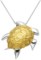 """Gold Plated Sterling Silver Swimming Sea Turtle Pendant w/20"""" Snake Chain"""